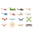 Helicopters And Drone Set vector image
