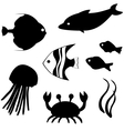 Fish silhouettes set 3 vector image