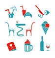 cafe icons set for web vector image