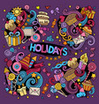 colorful set of holidays doodles design vector image vector image