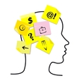 People head with memory stickers vector image vector image