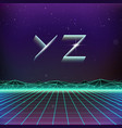 80s Retro Futurism Geometric Font from Y to Z vector image
