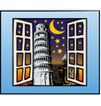a window on the tower of pisa vector image vector image