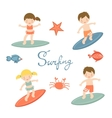 Cute collection of surfing kids vector image vector image