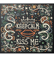 keep calm and kiss me vector image vector image