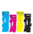 cmyk concept of a paint roller background vector image
