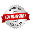 made in New Hampshire silver badge with red ribbon vector image