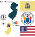 Map of New Jersey with seal vector image