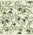 olive berry seamless pattern olive branch floral vector image