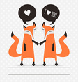 Romantic greeting card with fox I love you vector image