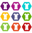 sport shirt and shorts icon set color hexahedron vector image