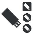 USB stick icon set monochrome vector image