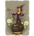 halloween witch cooking vector image