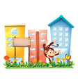 A monkey in the garden with a wooden signboard vector image