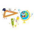funny smiling pen pencil ruler globe characters vector image