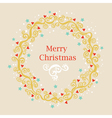 Greeting card with Christmas wreath vector image