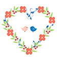 heart wreath with birds pink vector image