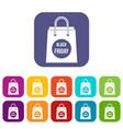 black friday shopping bag icons set vector image