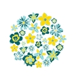 circle with tropical flowers vector image