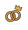 Pair of wedding rings logo vector image