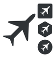 Plane icon set monochrome vector image