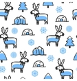 Seamless pattern with cute doodle reindeer vector image