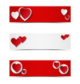 Set of card headers or banners with hearts vector image