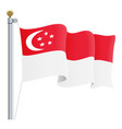 waving singapore flag isolated on a white vector image