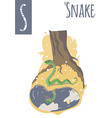 vertical of snake looking in the mirror puddle vector image