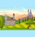 castles on hills medieval landscape vector image vector image