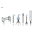 Set of Crutches and Walkers on White Background vector image vector image