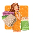 Beautiful girl with packages vector image vector image