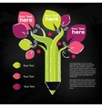 Pencil tree info graphic about education and vector image