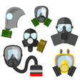 Gas mask set Gas mask for firefighters and vector image