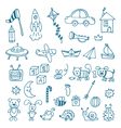 Hand drawn toys for boys set of different toys vector image