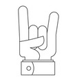 rock gesture icon outline style vector image
