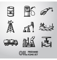Set of handdrawn oil icons - barrel gas station vector image
