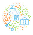 set of sketch style ecology icons vector image