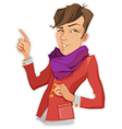 Stylish Man In A Purple Scarf vector image
