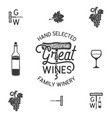 Wine winery logo and icons elements drink vector image