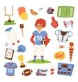 American football player set vector image