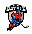 hockey player logo emblem vector image