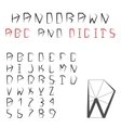 Hand Drawn Alphabet And Digits Pentagonal vector image vector image