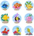 Cartoon sea life collection set vector image