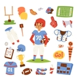 American football player set vector image