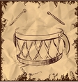 Cartoon drum isolated on vintage background vector image
