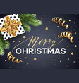 christmas background with gift box with gold bow vector image