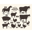 Farm animals Collection of silhouettes such as vector image