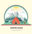 flat design of retro landscape and camping tent vector image