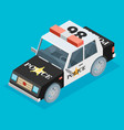 isometric black and white police car vector image